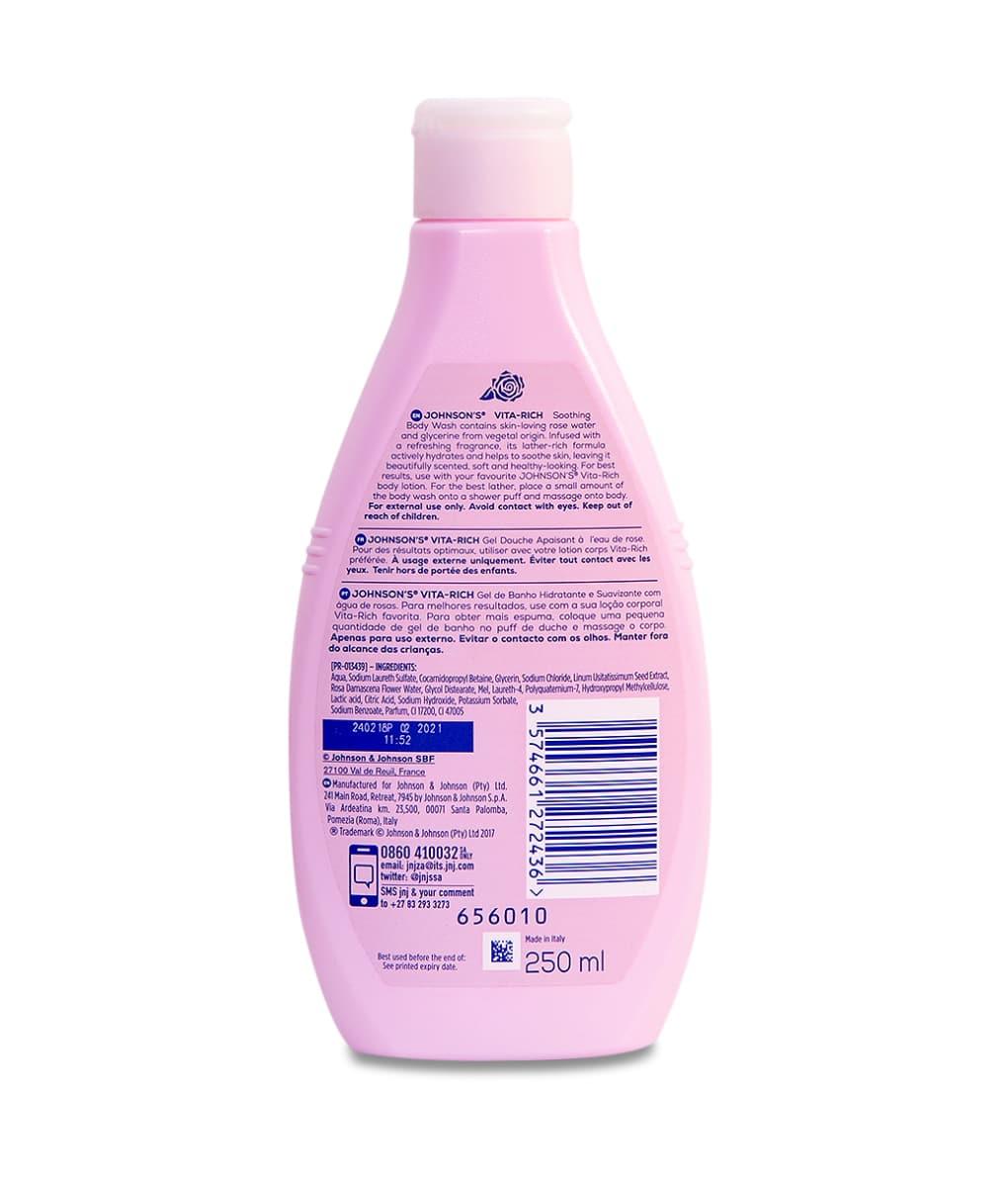 Johnson's Vita-Rich Soothing Rose Water Body Wash 250ml - Kasha